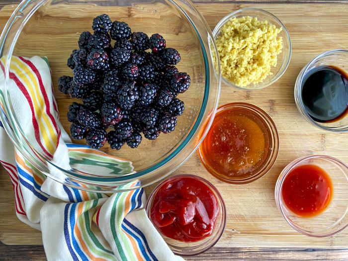 ingredients for blackberry sauce for pork