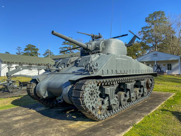 tank outside Louisiana Maneuvers Museum in Central Louisiana