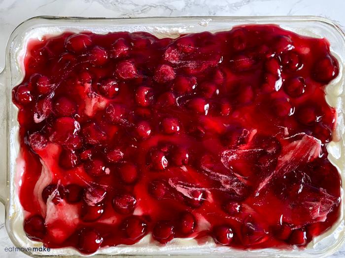 cherry pie filling on top