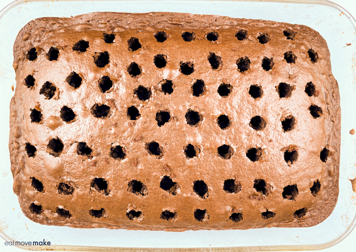 chocolate cake with poked holes
