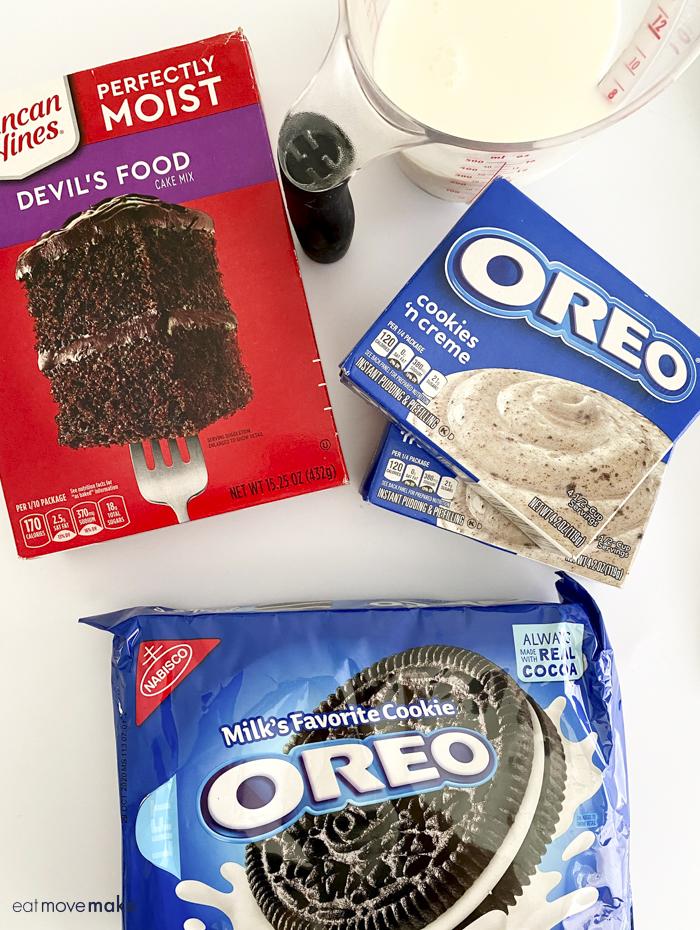 ingredients for Oreo Poke Cake