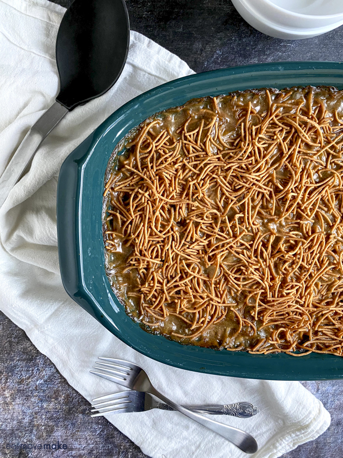 mock chow mein casserole in dish on table