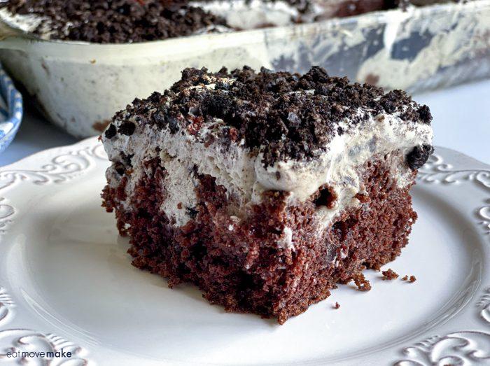 oreo poke cake on white plate