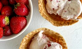 strawberry ice cream in waffle bowls