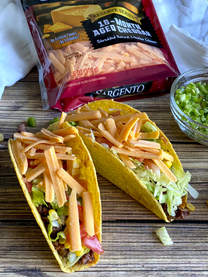 tacos with Sargento 18-month aged cheddar