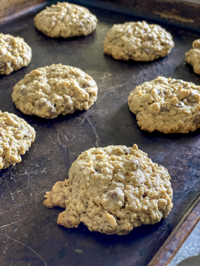 Nestle Crunch cookies on baking sheet