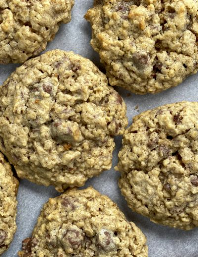 close-up of cookies on parchment paper