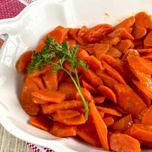 glazed carrots in serving dish