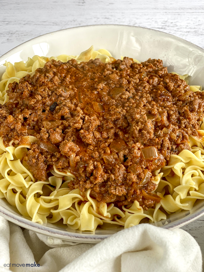 ground beef stroganoff sauce served over noodles