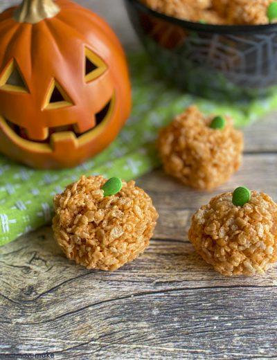 halloween rice krispies treats on table