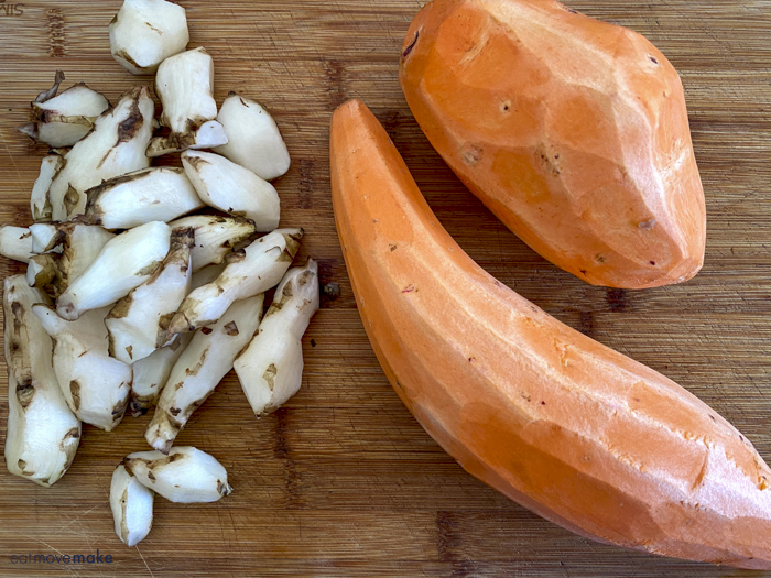 peeled sweet potatoes and sunchokes