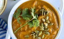 sunchoke soup in white soup bowl