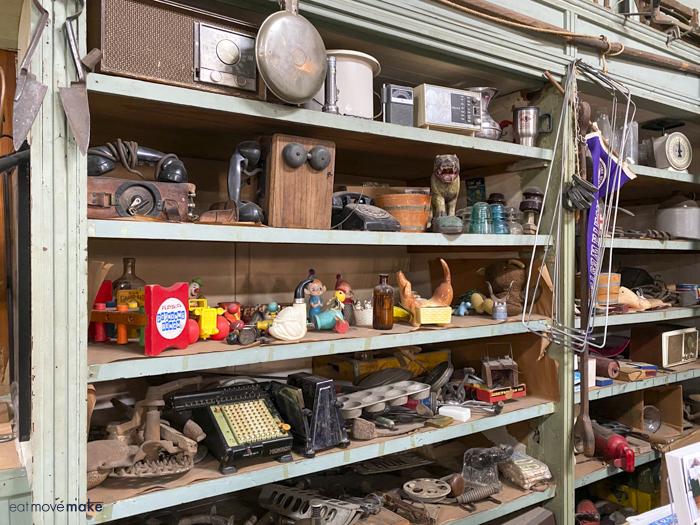 vintage products on shelf