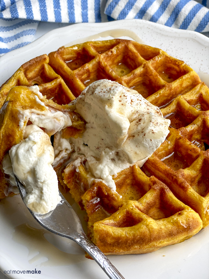 fork on plate with pumpkin waffle
