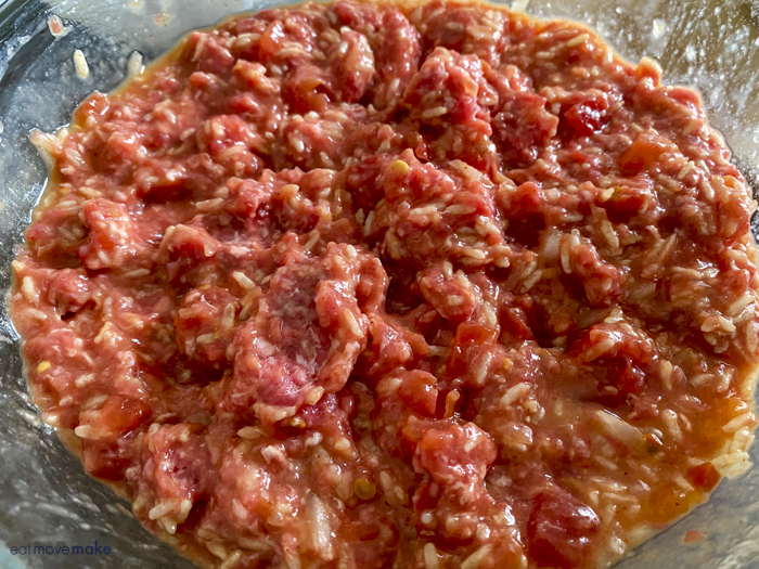 ground beef mixture in bowl