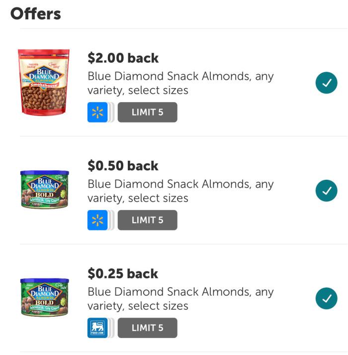 ibotta offer for Blue Diamond almonds