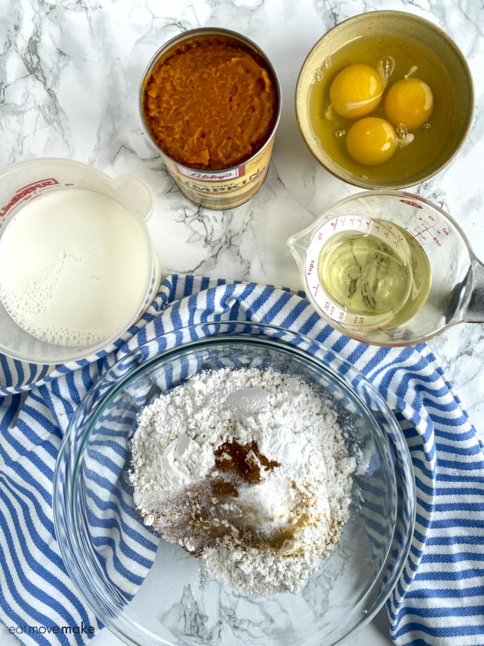 ingredients for pumpkin waffles