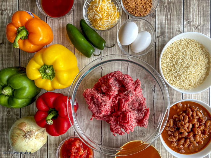 ingredients for stuffed pepper casserole