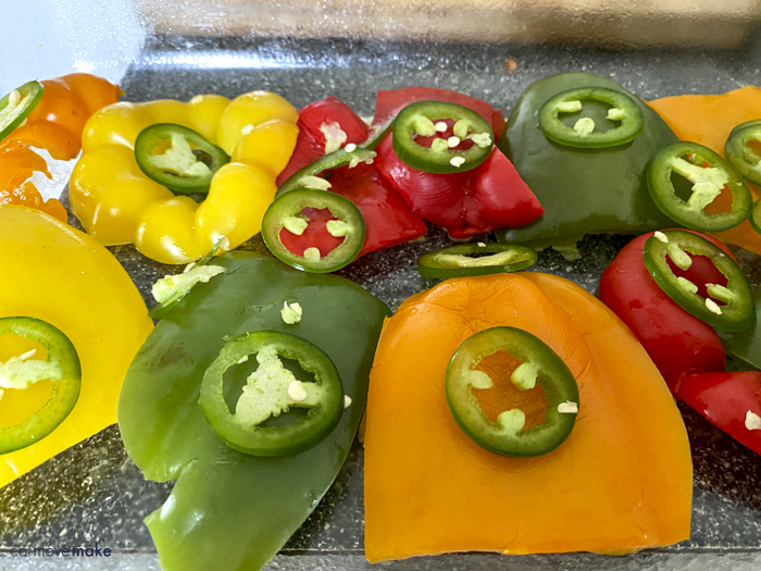 jalapeno slices on bell peppers