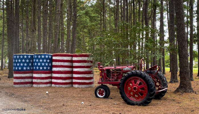 American flag made from hay bales