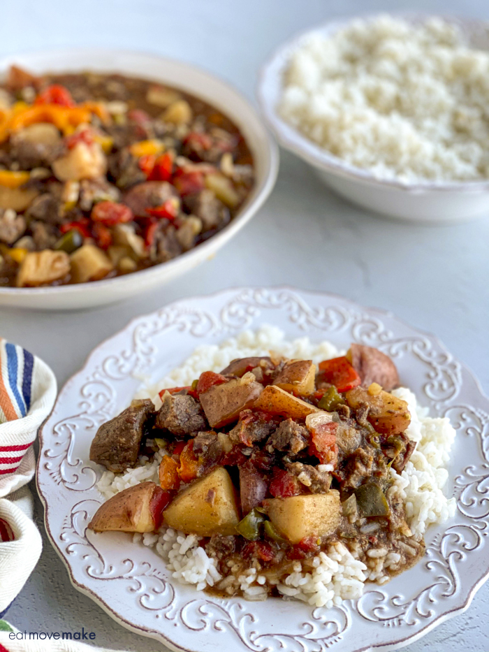 beef stew with cajun spice on plate