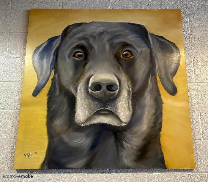 black dog painting