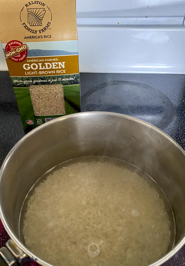 boiling Ralston Family Farms Golden Rice on stove