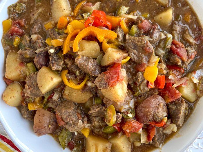 bowl of cajun beef stew