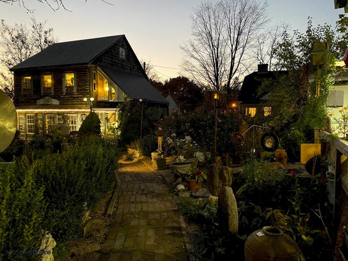 evening shot of Log House 1776