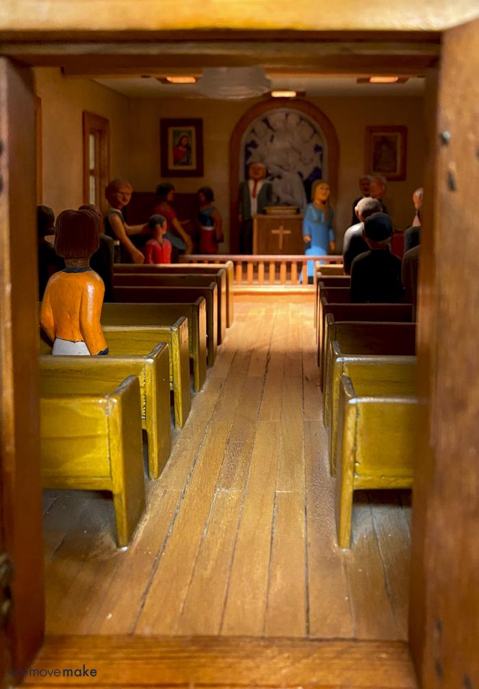 inside church dollhouse