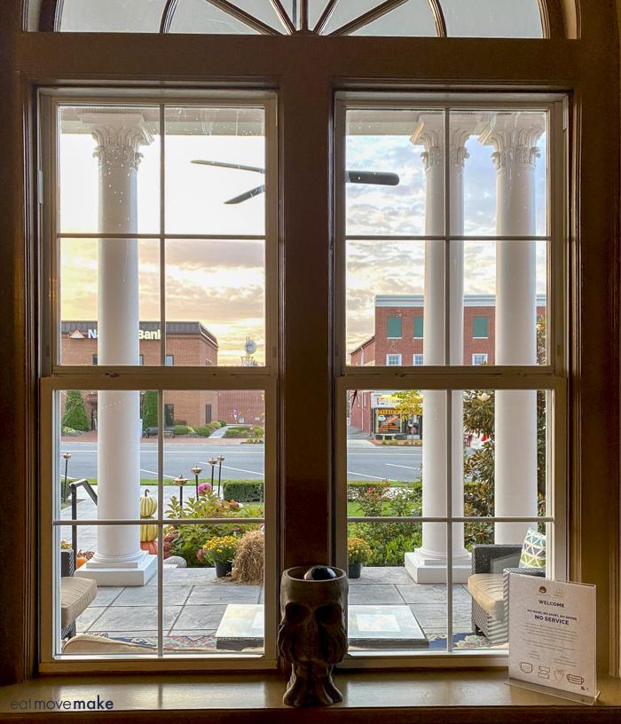 lobby window at Bolling Wilson Hotel