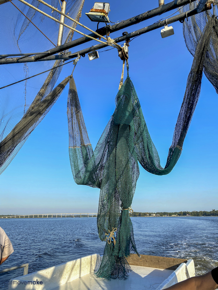 nets on shrimping boat