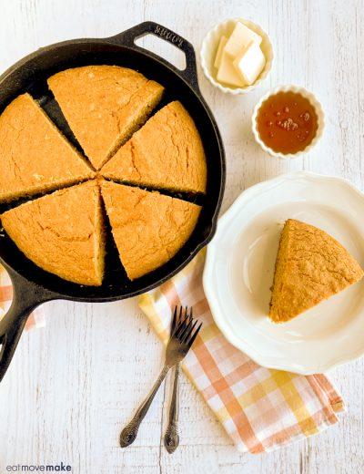 sliced pumpkin cornbread on table
