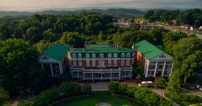 aerial shot of Martha Washington Inn - Abingdon VA