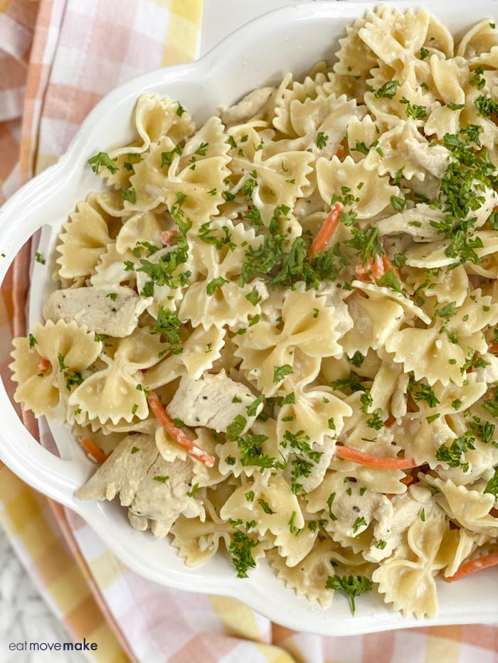 chicken pasta casserole with fresh herbs