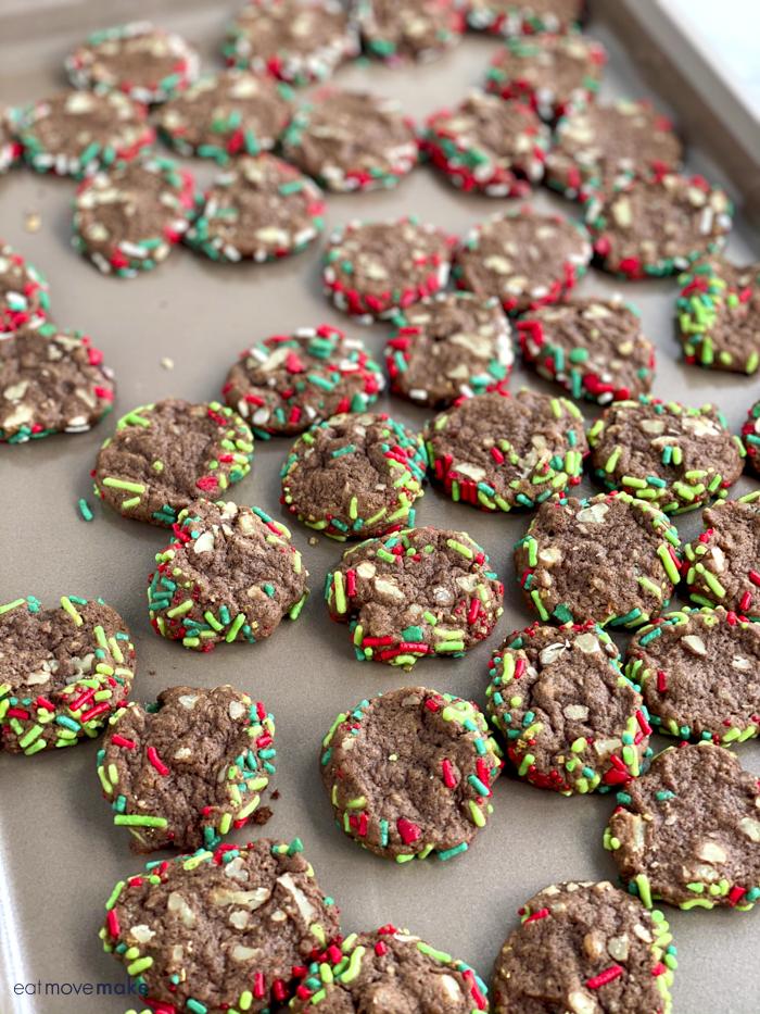chocolate sprinkle cookies on cookie sheet