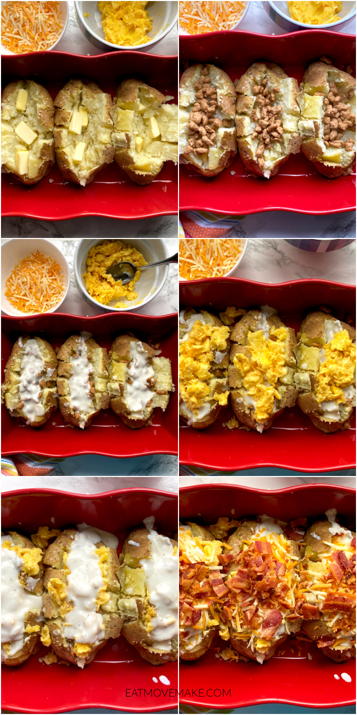collage of building stuffed breakfast potatoes