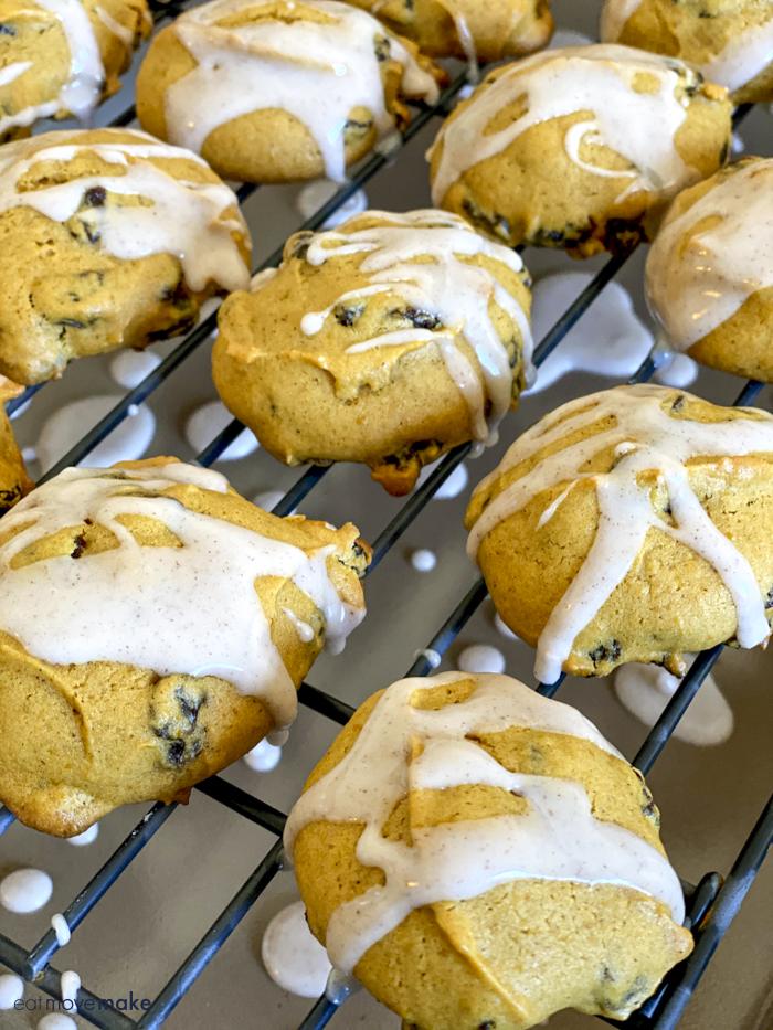 glazed cookies on cooling rack