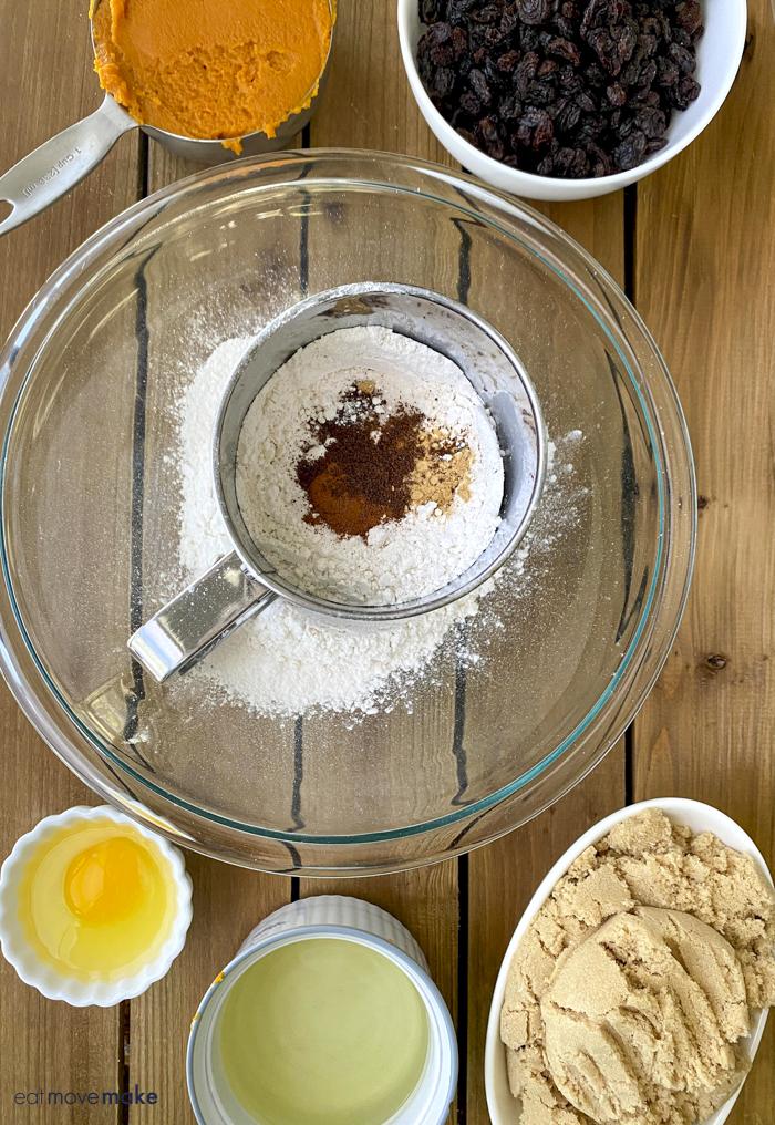 ingredients for raisin pumpkin cookies