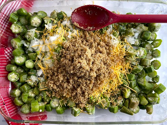 ingredients in baking dish for okra casserole