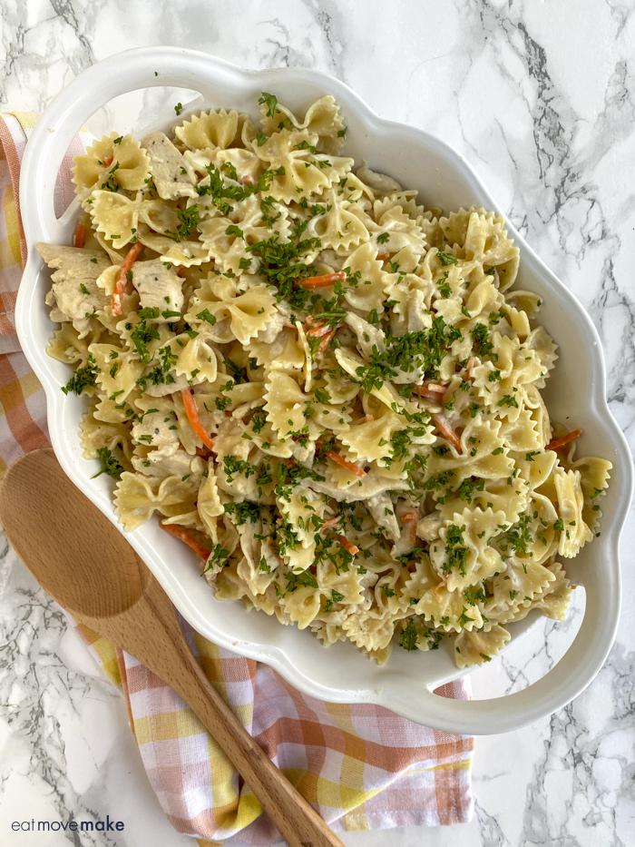 lemon chicken pasta recipe in casserole dish
