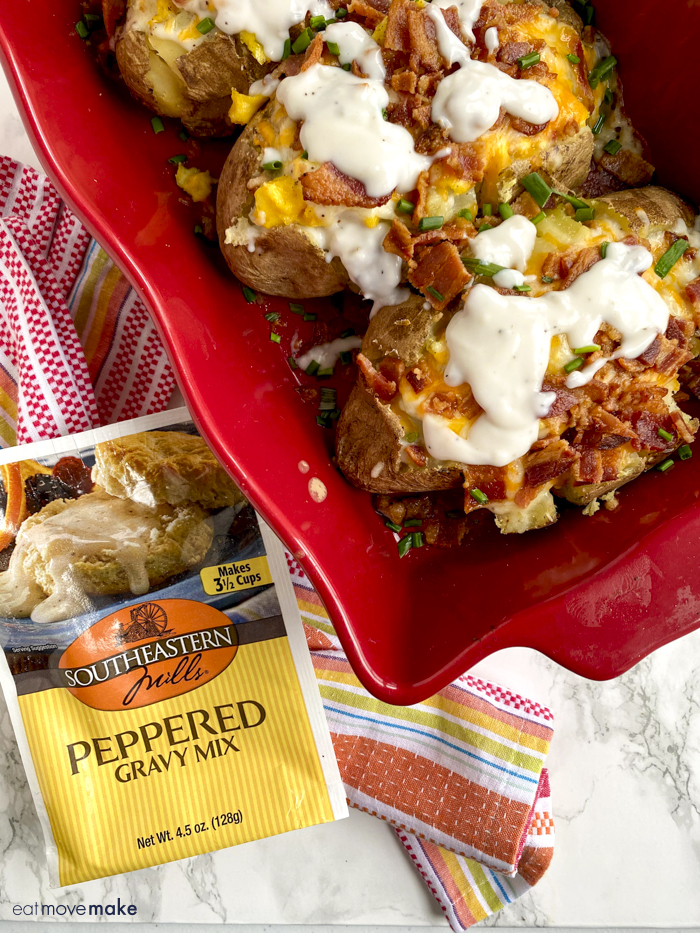 peppered gravy pouch by stuffed breakfast potatoes