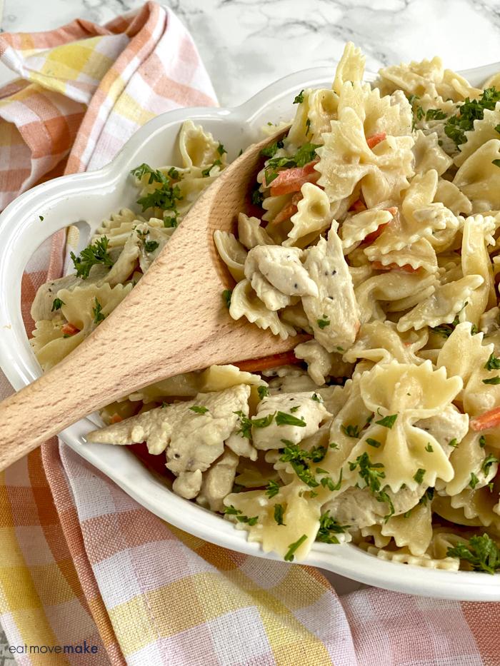 scoop of lemon chicken bowtie pasta