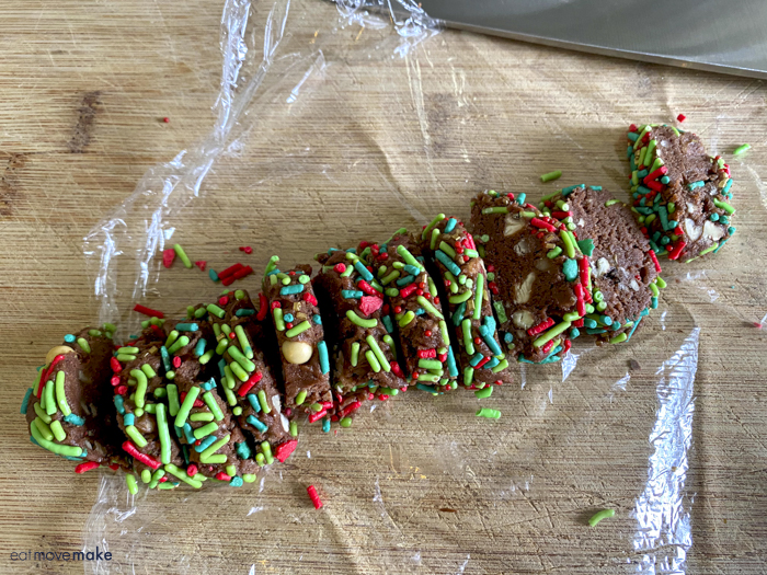 sliced chocolate pecan cookies