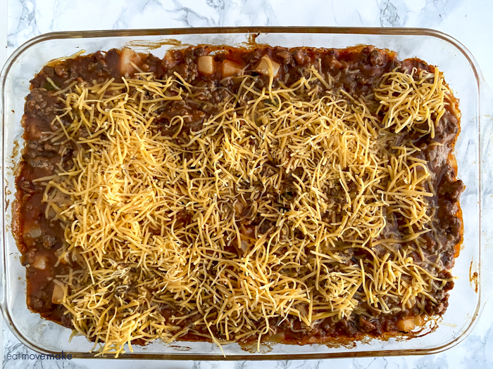 sprinkled cheese on casserole