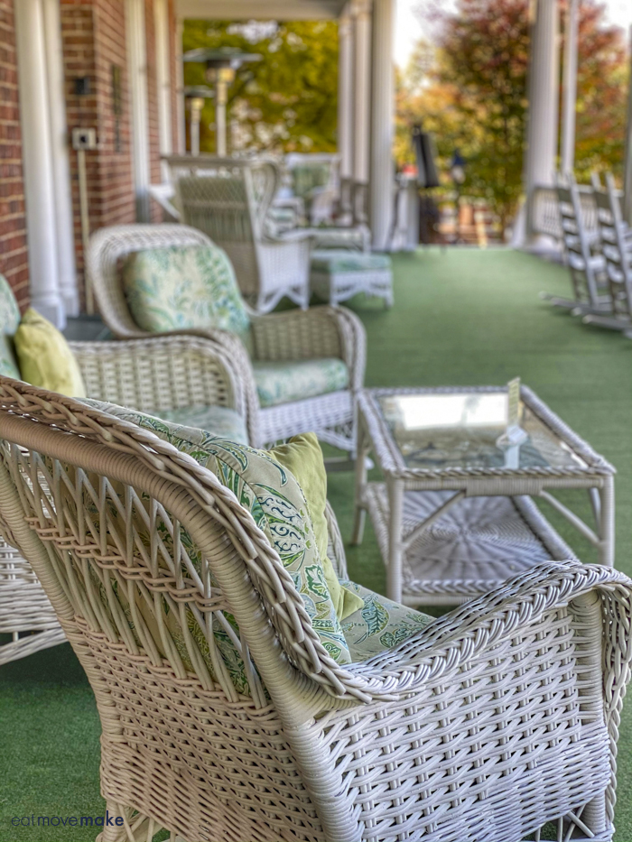 wicker furniture on porch
