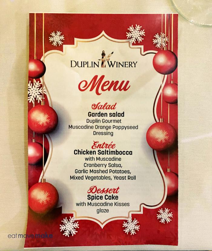 Down Home Christmas Show menu