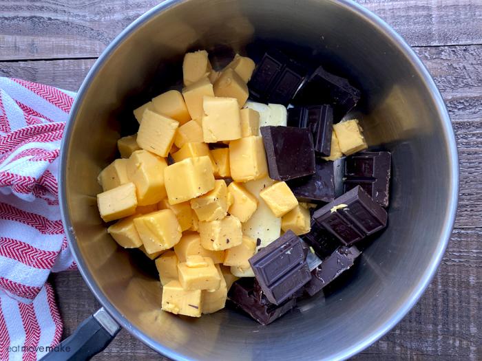 Velveeta and chocolate in pan