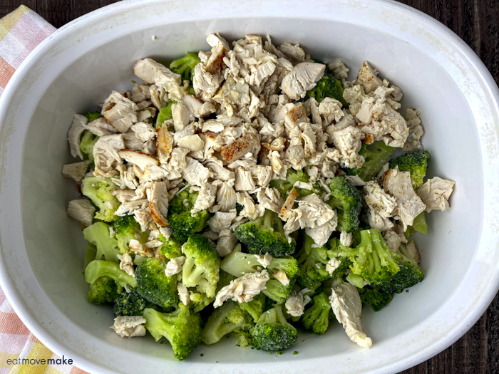 chicken and broccoli in dish