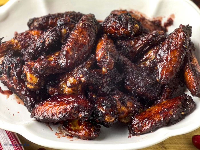 close-up platter of hot wings